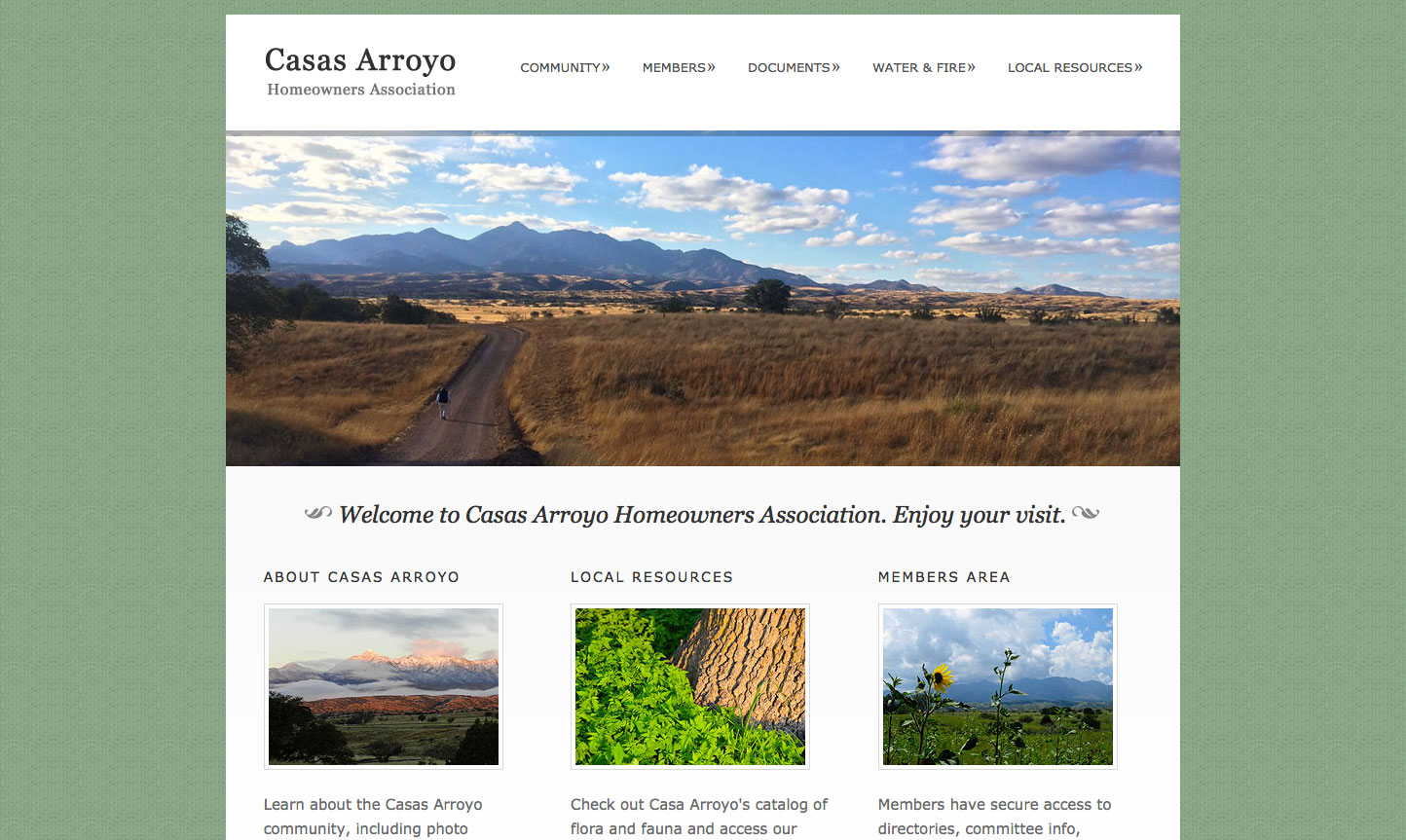 Casas Arroyo Homeowners Association Website